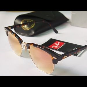 Ray ban clubmaster rose gold mirror sunglasses